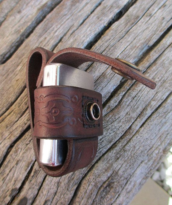 Leather belt pouch for Zippo lighter