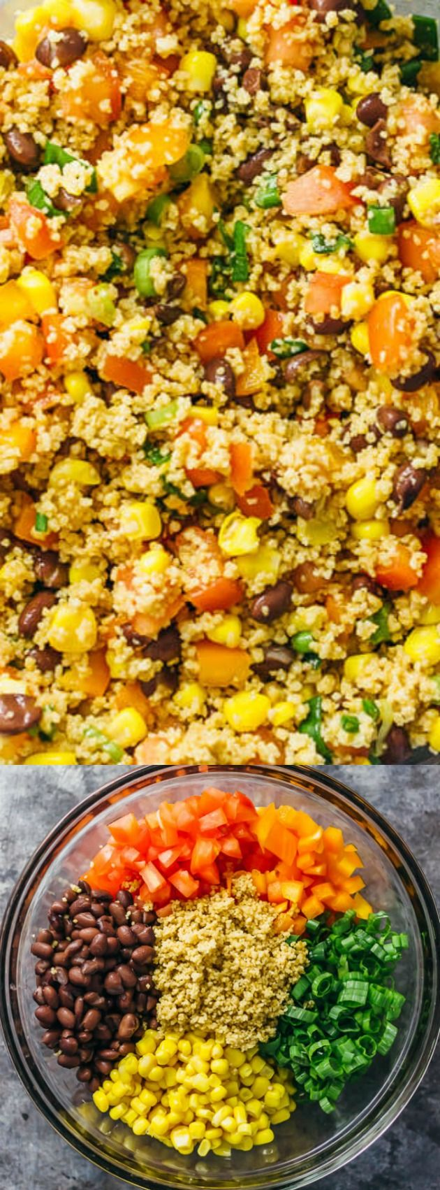 This Best Southwest Couscous Salad from Savory Tooth is easy to make and has a summery southwestern vibe. It's perfect for get-togethers because you can prep all of the ingredients ahead of time and let the flavors marinate in the fridge!