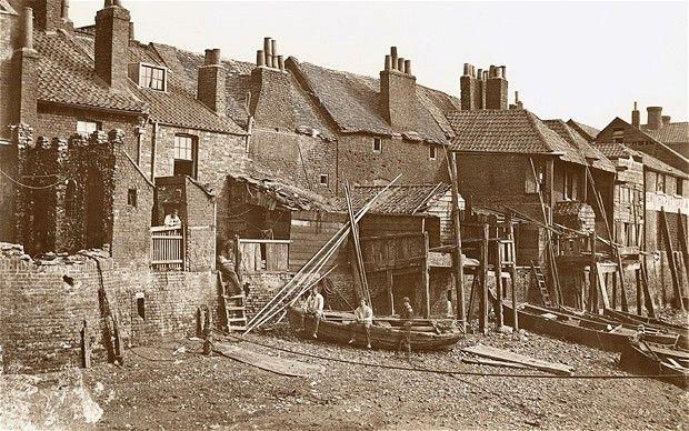 Thames foreshore at Lambeth shortly before the building of the Albert Embankment in 1866-9