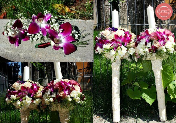 elegant wedding bouquet - roses, orchids. white and purple lisianthus, minirosa, freesia  + accessories