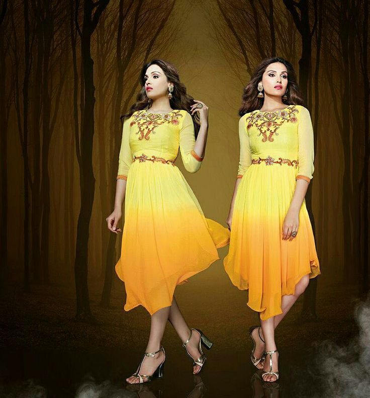 Style yourself up this festive season in these awesome new range of designer georgette kurtis ... marvellous designing with sleek embriodery ...Give yourself a super awesome look with these stylish range of kurtis .. Anjali designer wear