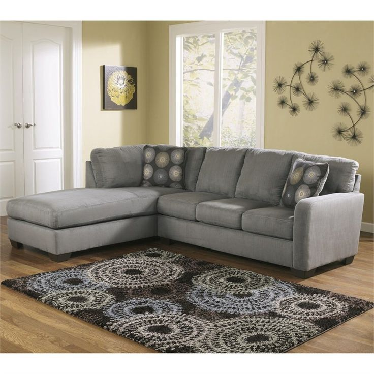 Lowest price online on all Signature Design by Ashley Furniture Zella Microfiber Sofa Sectional in Charcoal - 7020016-67-KIT