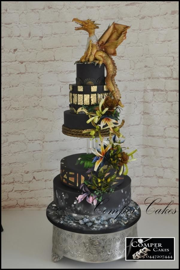 Dragon wedding cake Perth Royal Show 2016 Master Section - Gold - Cake by Comper Cakes