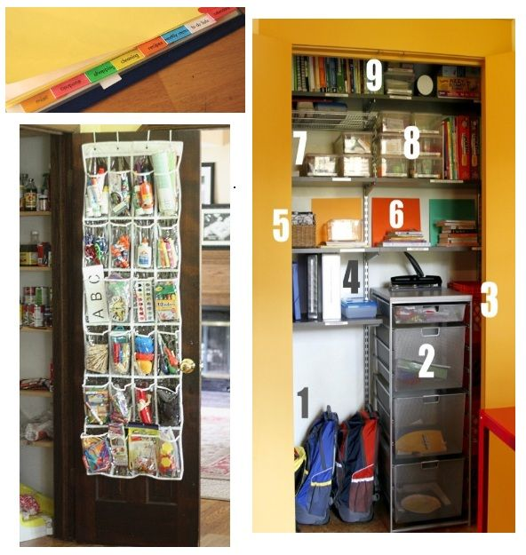 Organization tips for back to school - love the plastic shoe holder for keeping art supplies