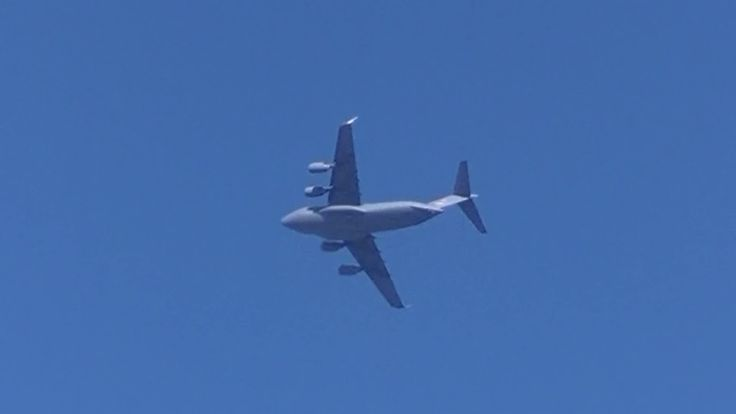 """B-52 Bomber and a C-17 Transport military aircraft over Texas. Mid October 2017. What a sight to behold. There were three or four of these large crat fyling over the interstate I guess that is the 40. Two B52's B-52 Stratgegic bombers and some of these C-17 transporters which I mistakenly called C-130's in the video. #B52bomber #bomber #jets  #Boeing B-52 Stratofortress """"The Boeing B-52 Stratofortress is an #American long-range subsonic jet-powered strategic bomber. The B-52 was designed and…"""