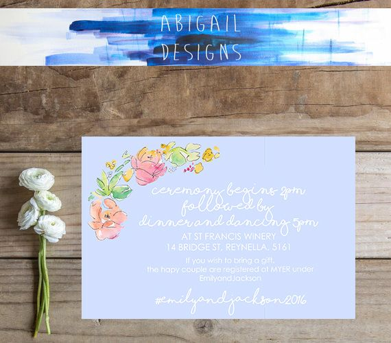 Our sweet 'Dusty Blue' wedding invitation suite. We also have an invitation, rsvp and thank you card. . . . . . #abigaildesigns #smallbusiness #weddinginvitation #invitationsuite #dustyblue #etsy #etsyshop #etsylove #etsyaus #floral #floralwreath #wreath #boho #chic #hippy #hipster