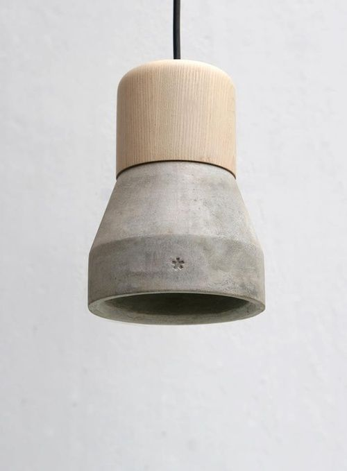 Concrete and wood lamp