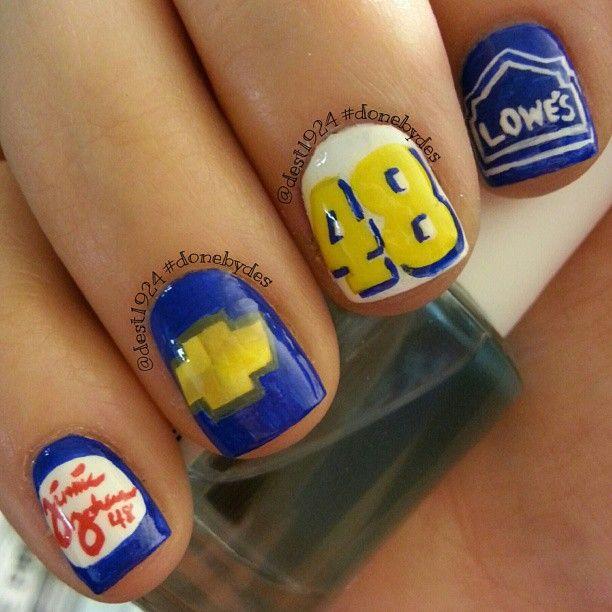 LOWE'S 48 jimmie johnson NASCAR by donebydes #nail #nails #nailart - 18 Best Nifty Nail Art Images On Pinterest Nascar Nails