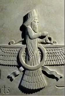Ahura Mazda, the supreme Zoroastrian deity often pictured in a form identical to Ashur. Again we see the winged sun disk form first associated with Horus and Ra