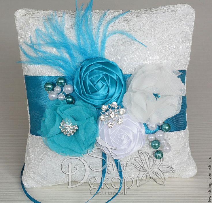 """Подушечка для колец """"Florence""""( in aquamarine) - бирюзовый,свадебные аксессуары"""