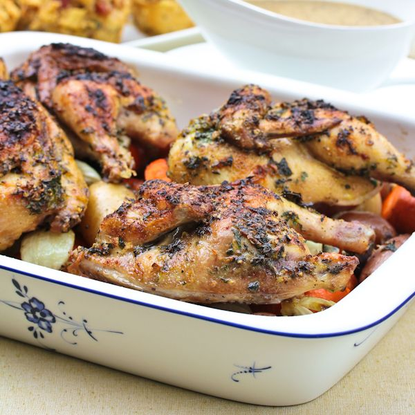 Easy cornish game hen recipe, perfect for dinner parties and as a Thanksgiving or holiday alternative. Tender and moist, each little game hen is perfectly: