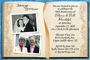 """Photo Anniversary Invitations - Your """"then and now"""" photos are featured in this beautiful invitation with the look of an open Memory Book. More photo anniversary invitations at  http://www.photo-party-favors.com/anniversary-invitations.html"""
