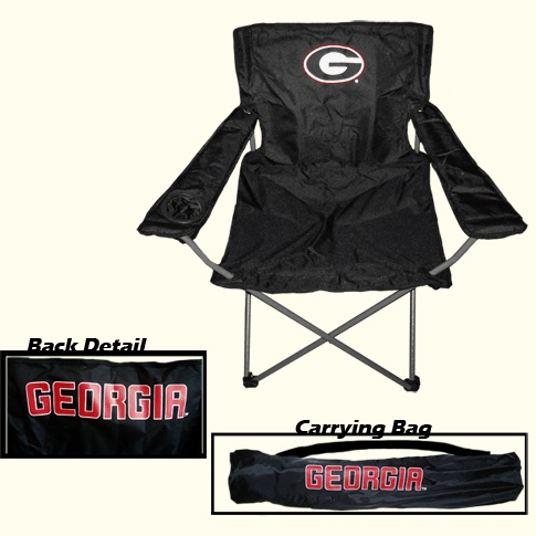 UGA black collapsible tailgating chair. University of Georgia black folding tailgate chair with Georgia G logo on front and GEORGIA on back. Carrying bag with GEORGIA on it included. 1 cup holder in arm rest, Steel frame, Lightweight, 600D polyester fabric construction.