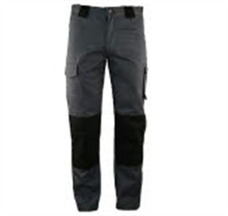 Werkbroek Grijs/Zwart - 60% katoen/40% polyester - 2 zijzakken - 2 achterzakken - beenzak en Cordura kniezakken - duimstokzak en rolmaatzak - € 36,13 excl BTW