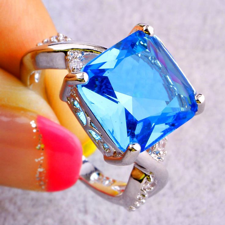 Fashion Rings Saucy Blue Topaz 925 Silver Ring For Anniversary Size Wholesale Free Shipping For Unisex Jewelry