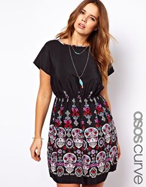 would be adorable with a waist belt and my spikey black boots ASOS CURVE Exclusive Skater Dress In Skull Border Print