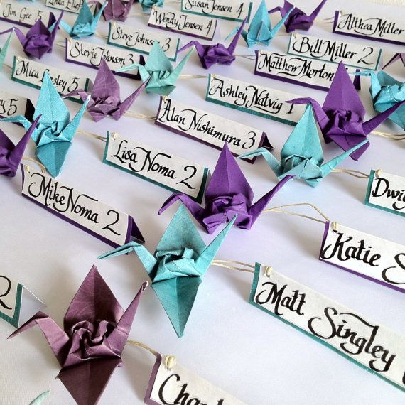 Wedding Escort Cards, Origami Crane with Rose, Event Favor or Place Cards - sets of 20 - any color. $50.00, via Etsy.