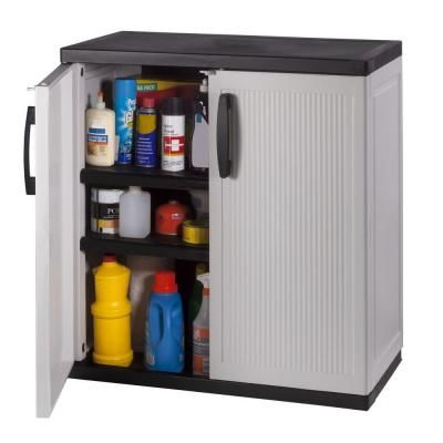 From The Home Depot · HDX 35 In. W 2 Shelf Plastic Multi Purpose Base  Cabinet In Gray