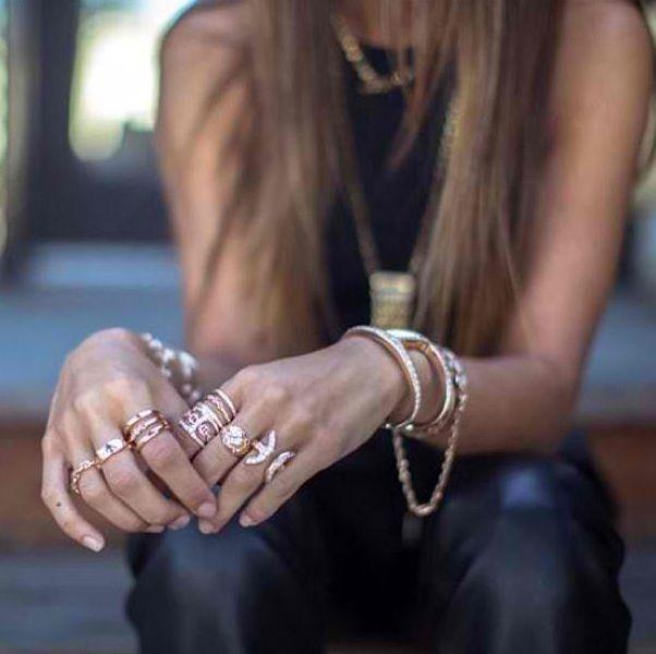 Hoorsenbuhs + stacked jewelry