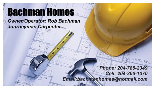 Bachman Homes business card