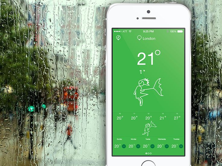 Flat Weather Mobile App Design