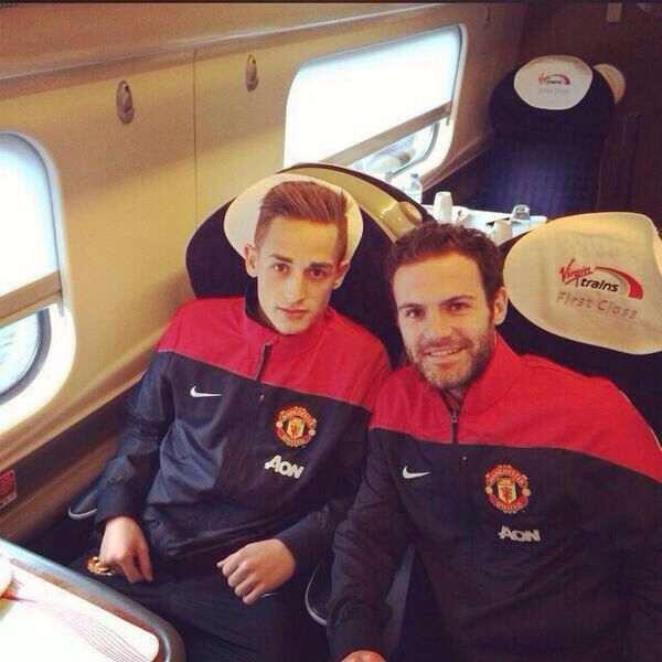 Two of United's new fan favourites, Adnan Januzaj and Juan Mata taking the train to London for the PL fixture at Crystal Palace on 22.2.2014.