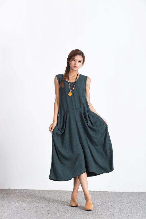 Women's Linen cotton maxi dress Oversize long caftan by Youga
