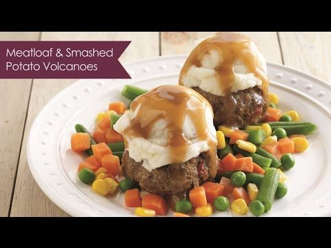 Meatloaf and Smashed Potato Volcanoes