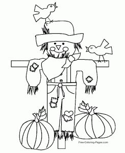 scarecrow coloring page thanksgiving