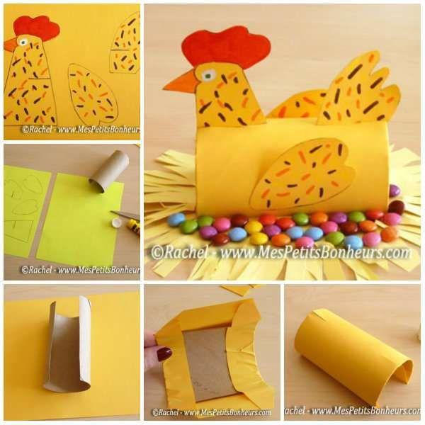 Poule pondeuse de bonbons. 15 Activités manuelles avec du rouleau de papier toilette pour amuser les enfants à Pâques