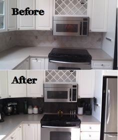 Quick kitchen backsplash revamp using peel and stick vinyl tiles.  DIY: Vinyl Tiled Backsplash | Rhody Life