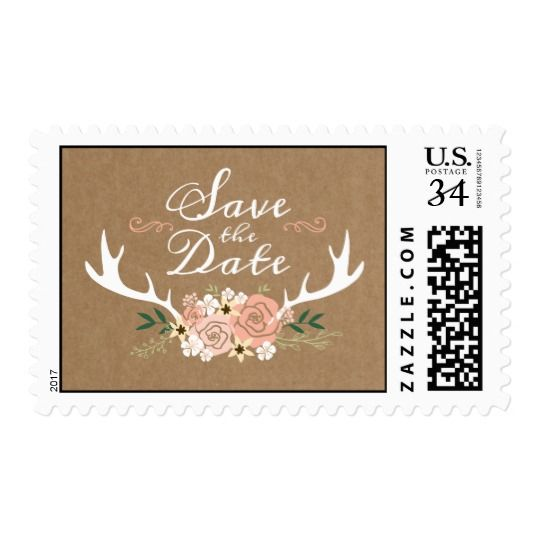 Antler Save the Date Postcard Postage