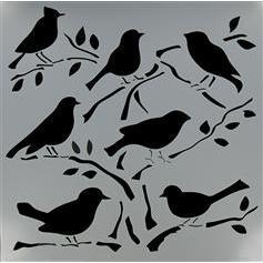 Sitting Bird Stencil