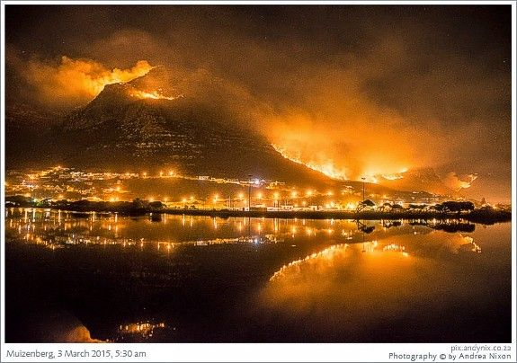 Views of the 2015 fires in the Muizenberg mountain as seen from Zandvlei Nature Reserve.
