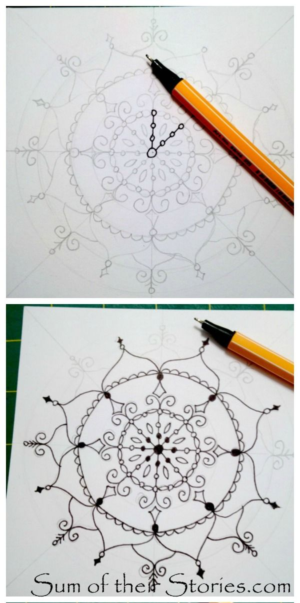 Sum of their Stories: How to draw Mandala Greeting Cards