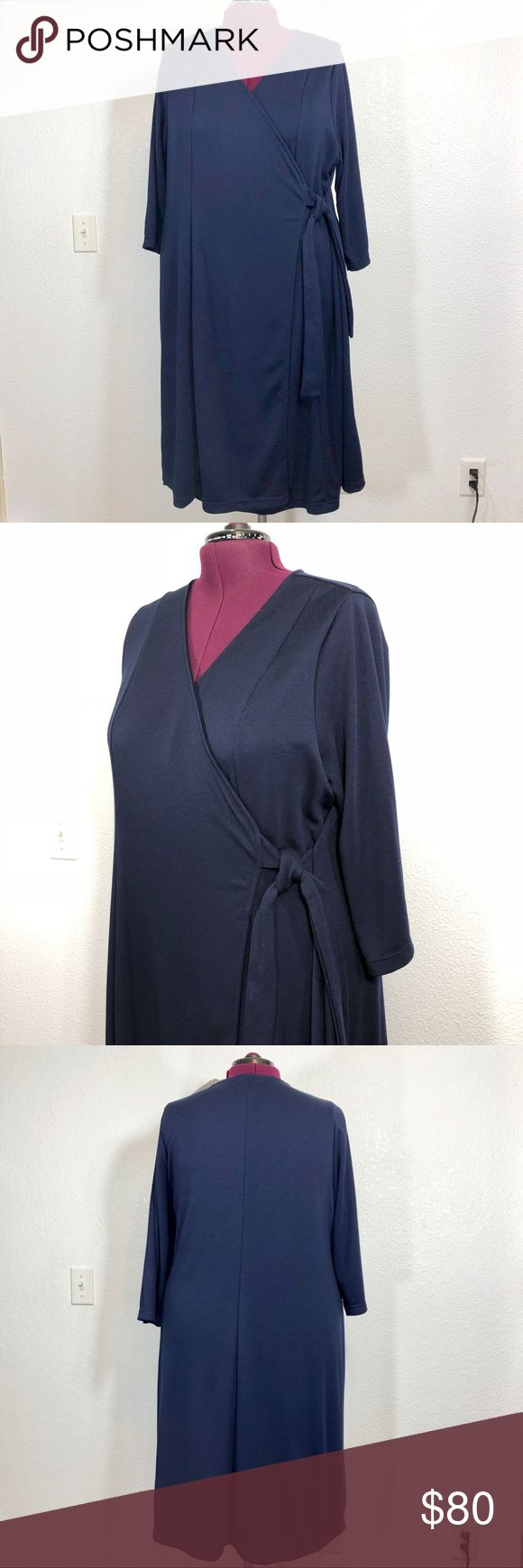PLUS Igigi Wrap Blue Dress New with tags classic beautiful and comfortable high quality wrap dress by Igigi.  63% polyester, 32% viscose 5% elastane.   Length approximately 45 inches measured in the back.  Size 22/24.  Made in USA. Igigi Dresses