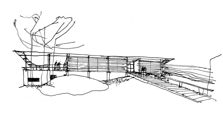 Preliminary study sketch by Glenn Murcutt for the Simpson-Lee House