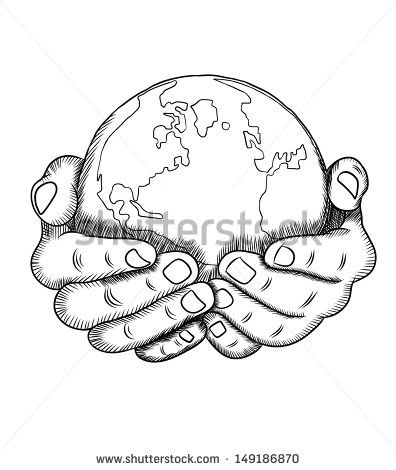 hands holding earth drawing sketch coloring page