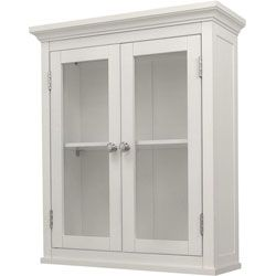 Need something for above toilet.. I like the simple white wood in bathrooms.. Classique White Wall Cabinet with Two Doors | Overstock.com