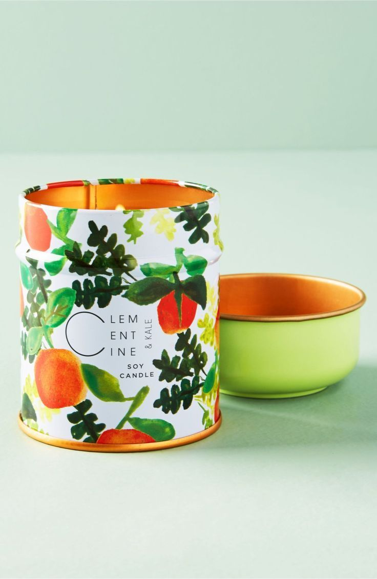 a vibrantly patterned tin serves as an eye catching container for a