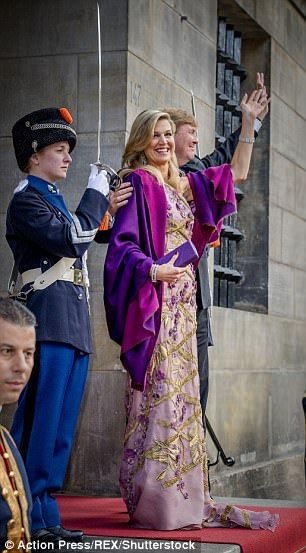 Maxima wowed in a heavily embellished violet gown with a matching shrug
