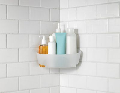 Beautify the Bathroom with a Command™ Corner Caddy. It is frosted to hide water spots and it looks great in any shower!