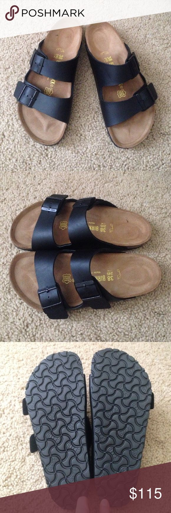 Black Birkenstock Sandals Great condition, authentic Birkenstock Sandals. Only wore once before admitting to myself that they are just too small! Birkenstock Shoes Sandals