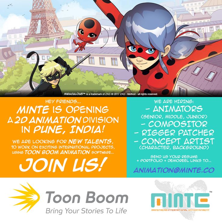 MINTE is opening a 2D Animation division in Pune, India!  We are looking for new talents, to work on exciting international projects, using TOON BOOM ANIMATION software... JOIN US!  We are hiring : #animator (senior, middle, junior) #compositor #rigger #patcher #conceptartist (character, background).  Send us your resume + portfolio & demo-reel links to animation@minte.co  #2d #animation #cartoon #studio #india #pune #job #hiring #toonboom#minte