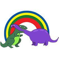 2 dinosaures + arc en ciel http://www.happydays-tees.com/france/parents-bebes/baby-combat-dinosaures.html
