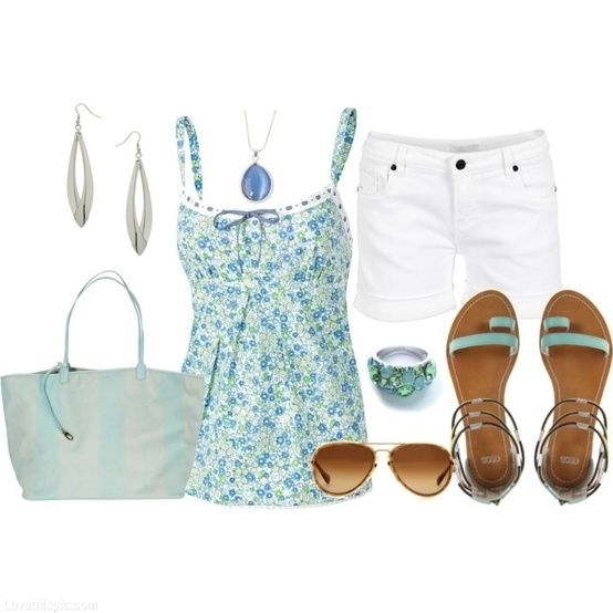 Cool Blue Summer Outfit fashion summer blue shorts turquoise accessories outfit  super cute ! nice and casual (: