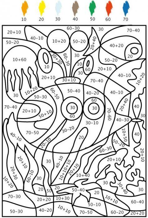 coloriage Jeu de coloriage numéroté : chiffres et mer n°5