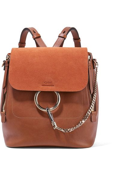 Tan leather and suede (Calf) Snap-fastening front flap Weighs approximately 2.6lbs/ 1.2kg Made in Italy