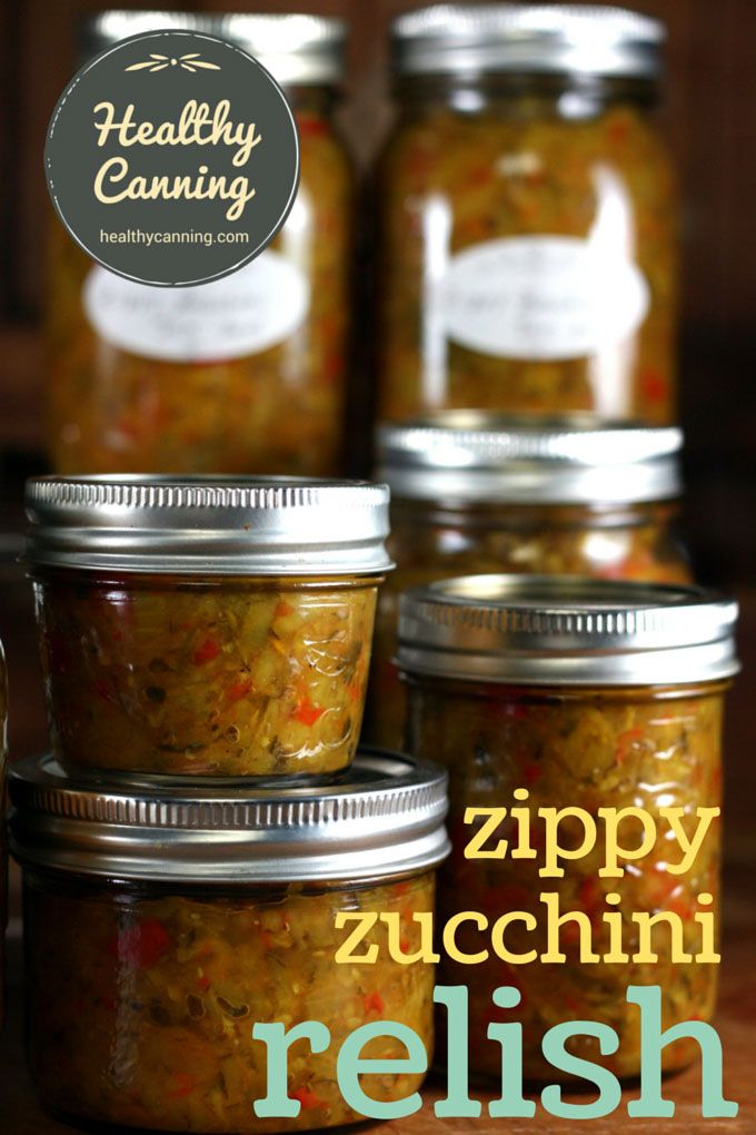 Zippy Zucchini Relish. A great hot dog, burger or sausage on a bun relish with just enough zip to give some interest. You can make this at any time of year using zucchini (aka courgette) fresh from the market; in fact, it's nice to have some ready to go for the summer. Sugar and salt free, too! #canning