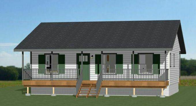 Details About 36x24 House 2 Bedroom 2 Bath 864 Sq Ft Pdf Floor Plan Model 3g Building Plans House Cabin House Plans House